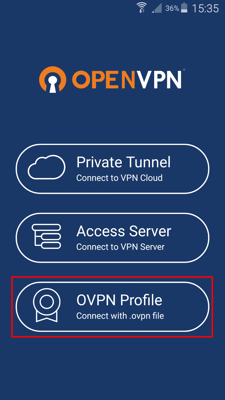 android openvpn connect ovpn profile