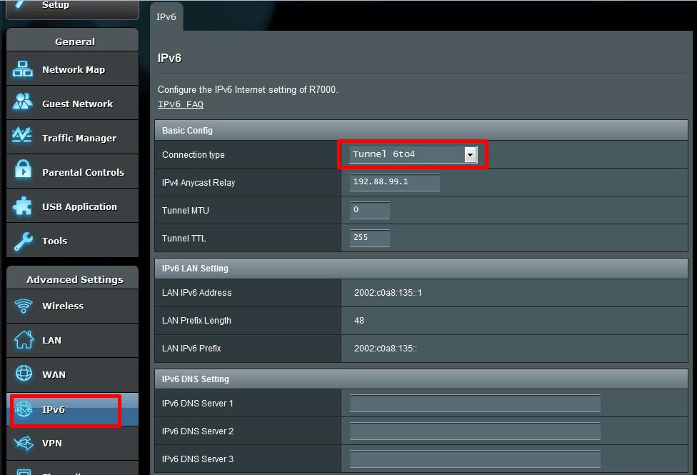 asus ipv6 settings