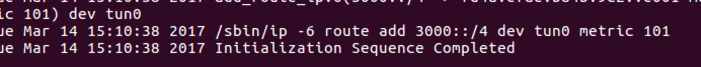 linux openvpn Initialization Sequence Complete