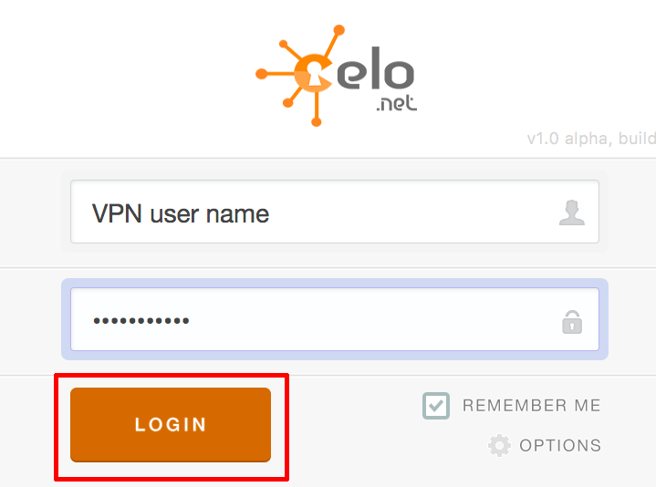 openvpn celo app username and password