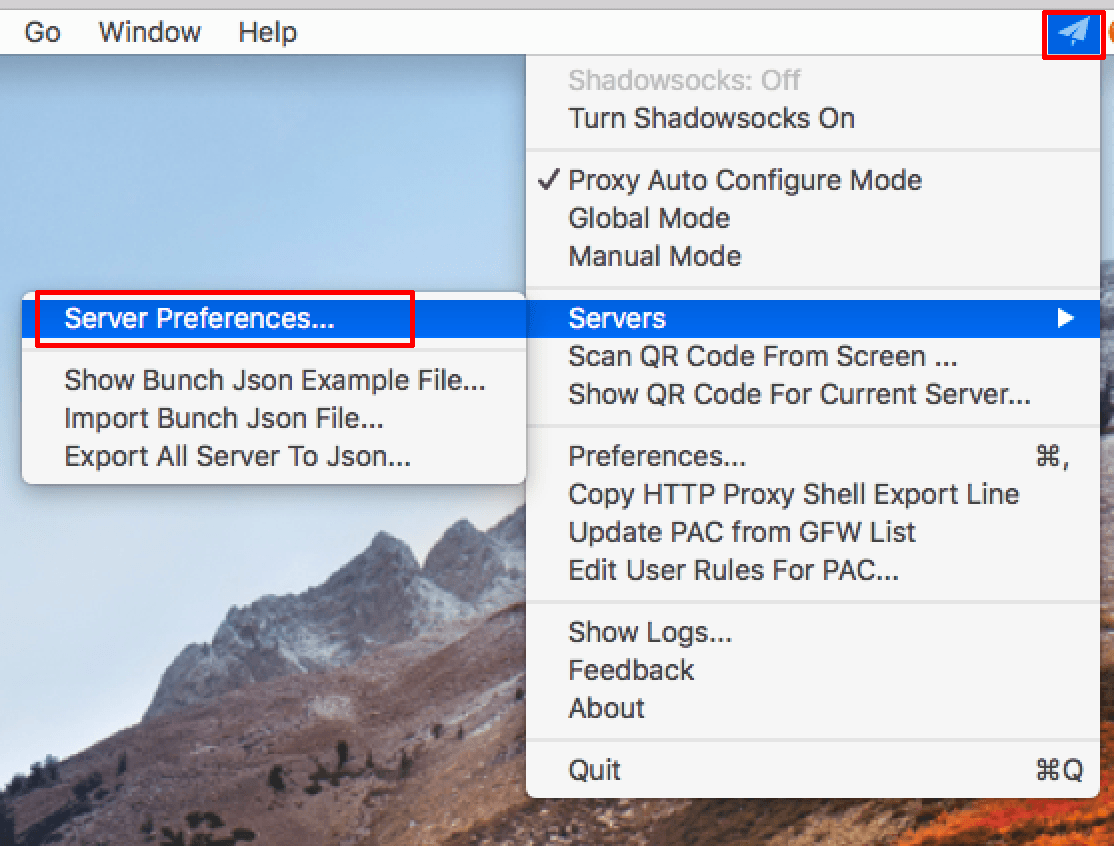 shadowsocks macos server preferences