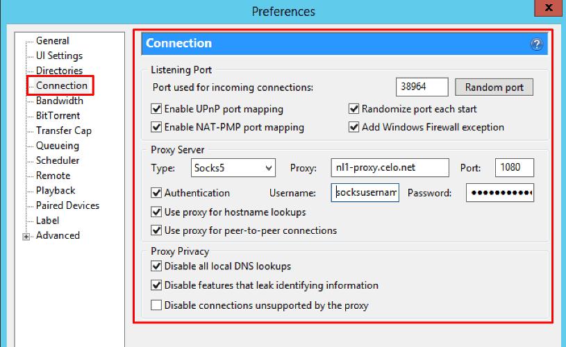 Utorrent http proxy settings