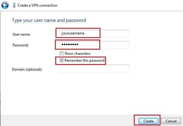 windows 7 vpn username and password